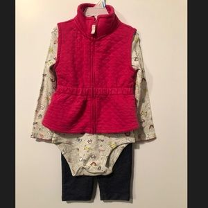Carters 3 pc vest, long sleeve and leggings.